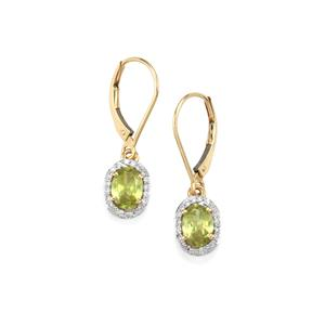 Ambilobe Sphene Earrings with Diamond in 18K Gold 1.73cts