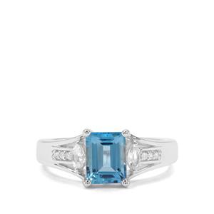 Swiss Blue, Sky Blue Topaz & White Zircon Sterling Silver Ring ATGW 1.93cts