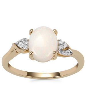 Coober Pedy Opal Ring with Diamond in 10K Gold 1.09cts