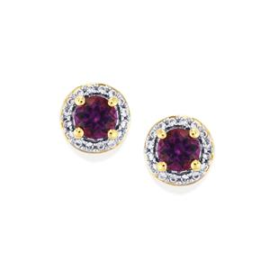 Moroccan Amethyst & White Zircon 10K Gold Earrings ATGW 1.13cts