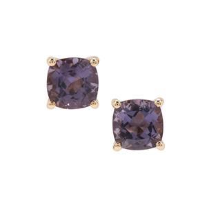 2.58ct Blueberry Quartz 9K Gold Earrings