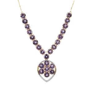 Blueberry Quartz Necklace with White Zircon in 9K Gold 18.95cts
