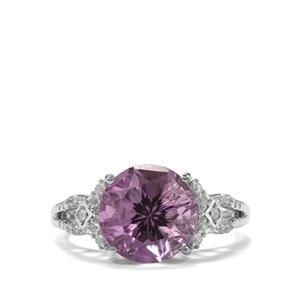 Ametista Amethyst & White Topaz Sterling Silver Cupid Ring ATGW 3.78cts