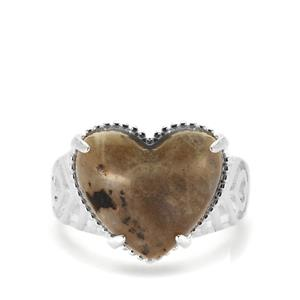 7ct Labradorite Sterling Silver Heart Beauty Ring