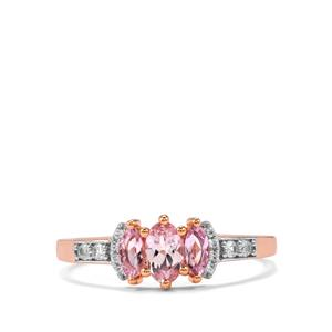 Imperial Pink Topaz & White Zircon 10K Rose Gold Ring ATGW 0.74cts