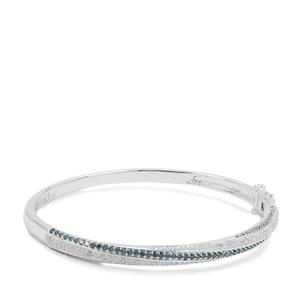 Blue Diamond Oval Bangle with White Diamond in Sterling Silver 1.71cts