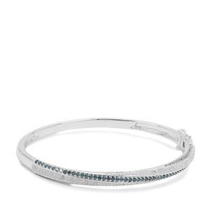 1.71ct Blue & White Diamond Sterling Silver Oval Bangle