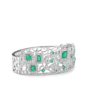 The Regal Tiara Green Onyx & White Zircon Sterling Silver Oval Bangle ATGW 11.90cts