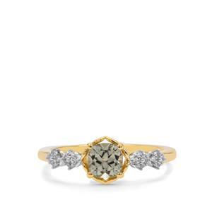Csarite® & White Zircon in 9K Gold Ring ATGW 0.75ct