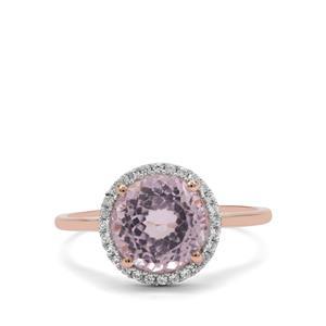 Kolum Kunzite & White Zircon 9K Rose Gold Ring ATGW 3.45cts