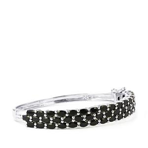Black Spinel Oval Bangle in Sterling Silver 15.55cts