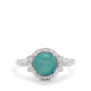 Blue Moonstone Ring with White Zircon in Sterling Silver 2.43cts