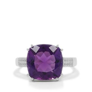 Zambian Amethyst Ring with White Zircon in Sterling Silver 6.20cts