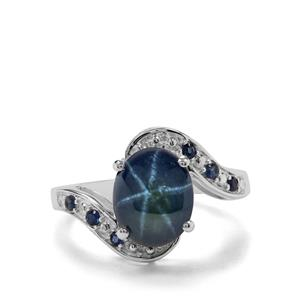 Madagascan Blue Star Sapphire & Blue Sapphire Sterling Silver Ring ATGW 4.42cts
