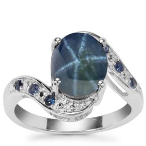 Madagascan Blue Star Sapphire Ring with Blue Sapphire in Sterling Silver 4.42cts