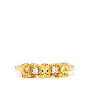 Ouro Preto Imperial Topaz Ring with White Zircon in 9K Gold 1.28cts