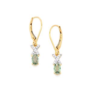 Alexandrite Earrings with Diamond in 18k Gold 0.96cts