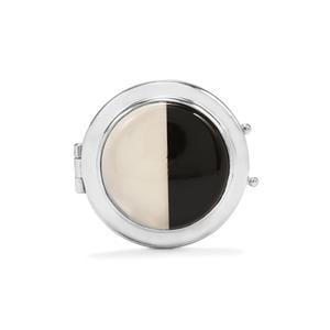 Black Onyx & White Agate Sterling Silver Locket Pendant ATGW 15.70cts