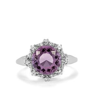 Lotus Cut Rose De France Amethyst & White Topaz Sterling Silver Ring ATGW 3.81cts