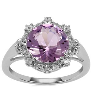 Lotus Cut Rose De France Amethyst Ring with White Topaz in Sterling Silver 3.81cts
