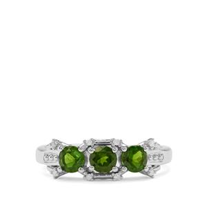 Chrome Diopside & Diamond Sterling Silver Ring ATGW 0.85cts