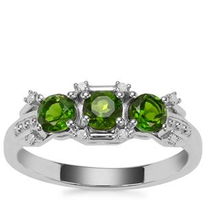 Chrome Diopside Ring with Diamond in Sterling Silver 0.85cts