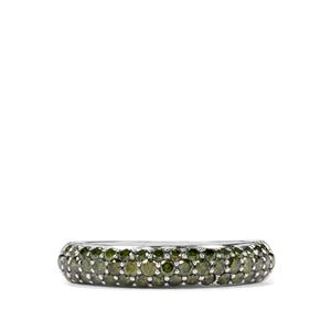 1ct Green Diamond Sterling Silver Ring