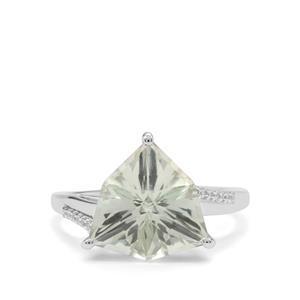 Alpine Cut Prasiolite & White Zircon 9K White Gold Ring ATGW 4.20cts
