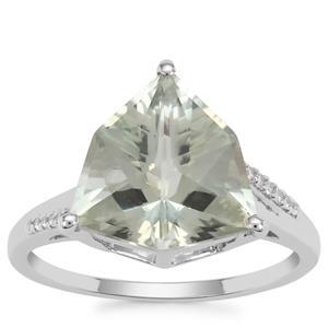 Alpine Cut Prasiolite Ring with White Zircon in 9K White Gold 4.20cts