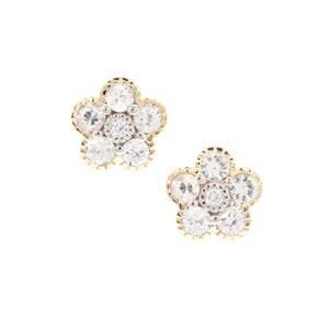 Leuco Sapphire Earrings with White Zircon in 9K Gold 1.11cts