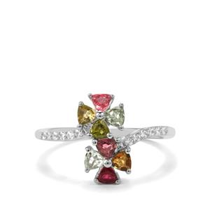 Rainbow Tourmaline Ring with White Zircon in Sterling Silver 0.97cts