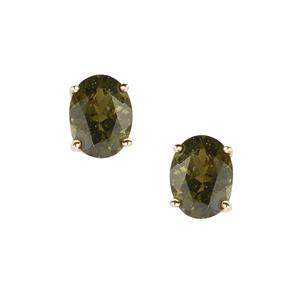 Moldavite Earrings  in 9k Gold 2.9cts