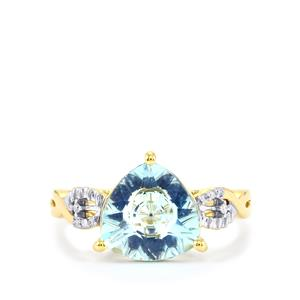 Lehrer KaleidosCut Sky Blue Topaz, Ceylon Sapphire Ring with Diamond in 10K Gold 3.44cts