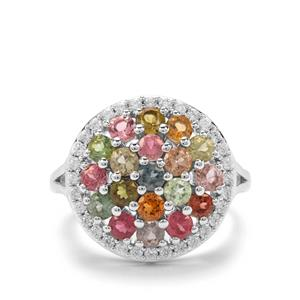 Rainbow Tourmaline & White Zircon Platinum Plated Sterling Silver Ring ATGW 3.12cts