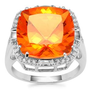 Padparadscha Quartz Ring with White Topaz in Sterling Silver 11.93cts