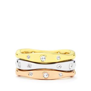 White Topaz Set of 3 Stacker Rings in Three Tone Gold Plated Sterling Silver 0.71ct