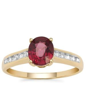 Malawi Garnet Ring with White Zircon in 9K Gold 1.99cts