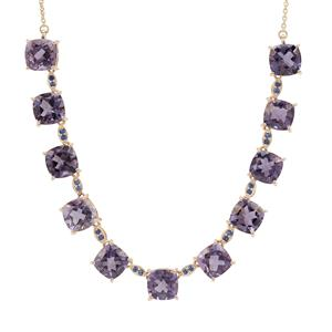 Montezuma Blue Quartz Necklace with Thai Sapphire in 9K Gold 14.81cts