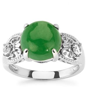 Green Jade & White Topaz Sterling Silver Ring ATGW 4.94cts