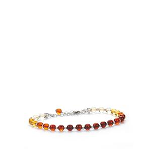 Baltic Cognac, Cherry Amber Bracelet with Baltic Champagne Amber in Sterling Silver (5mm)