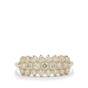 Natural Yellow Diamond Ring in 9K Gold 1.05cts