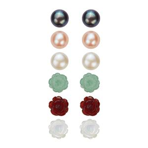 Red Agate, Mother of Pearl, Green Aventurine and Kaori Cultured Pearl Sterling Silver 6 Set of Earrings