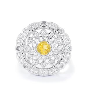 Rio Golden Citrine & White Topaz Sterling Silver Ring ATGW 1.49cts