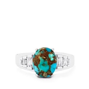 Egyptian Turquoise Ring with White Topaz in Sterling Silver 4.52cts