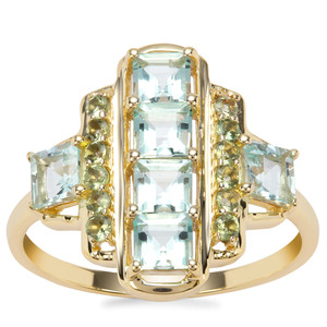 Aquaiba™ Beryl Ring with Green Tourmaline in 9K Gold 1.43cts