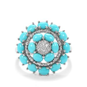 Sleeping Beauty Turquoise Ring with White Zircon in Platinum Plated Sterling Silver 2.81cts`