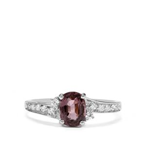 Burmese Pink Spinel & White Zircon Sterling Silver Ring MTGW 1.31cts