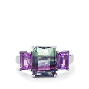 Zebra Fluorite Ring with Zambian Amethyst in Sterling Silver 5.71cts