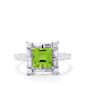 Changbai Peridot Ring with White Zircon in Sterling Silver 2.68cts