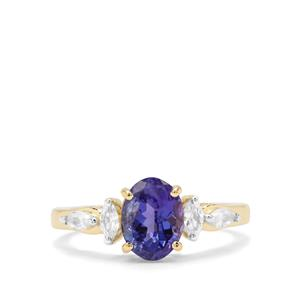 Tanzanite & White Zircon 9K Gold Ring ATGW 1.92cts